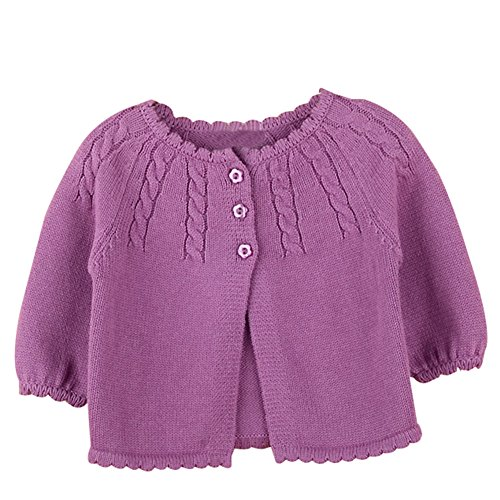 (Baby Girls Princess Knit Cardigan Infant Ruffle Sweater Jacket Coat for Dresses Button-Down Purple)