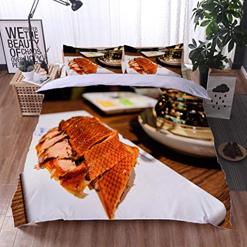 BEISISS Bed Comforter - 3-Piece Duvet -All Season, Beijing Roasted Sliced Duck Dinner on White Plate with Sides,HypoallergenicDuvet-MachineWashable -Twin-Full-Queen-King-Home-Hotel (Best Duck Curling Creams)