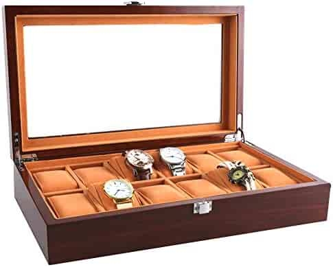 Watch Cases for Men 12 Slots Solid Wood Storage Organizer Display Box Large Holder Exquisite and Durable