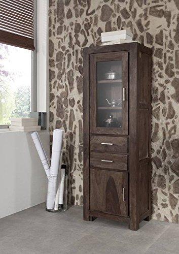 Palisander Massivmöbel Holz massiv grau Vitrine Massivholz Sheesham lackiert Möbel Metro Polis #106