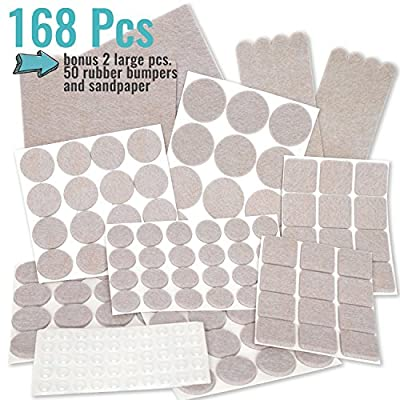 PREMIUM Furniture Pads Set 168 Pcs Value Pack Beige - Heavy Duty Adhesive Felt Pads for Furniture Legs, Assorted Sizes with Noise Dampening Clear Rubber Bumpers. Protect Hardwood & Laminate Flooring