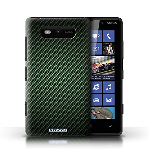 Etui / Coque pour Nokia Lumia 820 / Vert conception / Collection de Motif de Fibre de Carbone