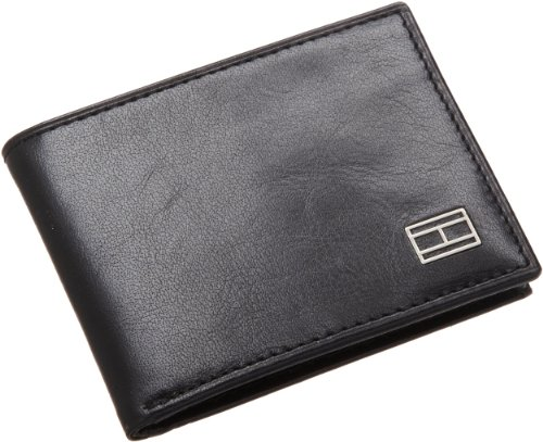 - Tommy Hilfiger Mens Leather Slim Billfold Wallet, Black, One Size