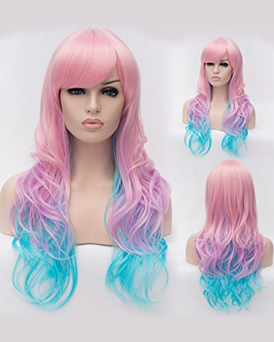 Fashion wigstyle colorido largo ondulado Highlights disfraz peluca Cosplay peluca de la Sirenita