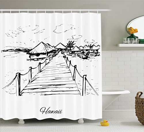 Ambesonne Hawaiian Decorations Collection, Sketch Style Hawaii Dock Tiki Huts Bungalows Tropical Trees Beachy Boho Decor, Polyester Fabric Bathroom Shower Curtain, 84 Inches Extra Long, Black - Huts Hawaii