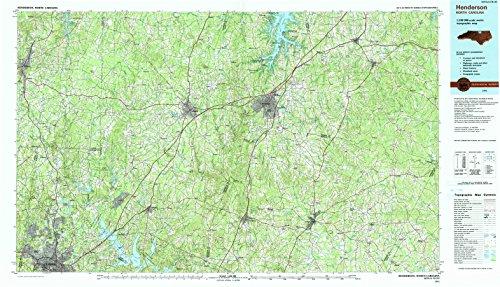 1991 Duke University - YellowMaps Henderson NC topo map, 1:100000 Scale, 30 X 60 Minute, Historical, 1991, Updated 1991, 24.1 x 41.9 in - Polypropylene