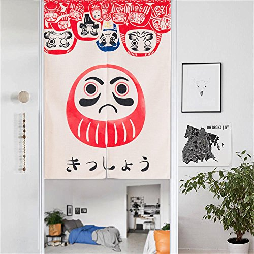 MR FANTASY Japanese Noren Doorway Curtain/ Tapestry Cotton Linen Room Divider Doll Daruma 33x47 Inches (Rods Where To Put Curtain)