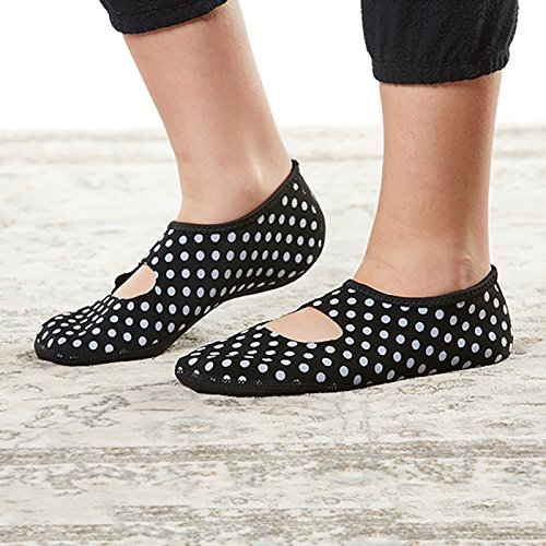 NuFoot Mary Janes Women's Shoes, Best Foldable, Flexible Flats, Slipper Socks, Travel Slippers, Exercise Shoes, Dance Shoes, Yoga Socks, House Shoes, Indoor Slippers, Black/White Polka Dots, Large
