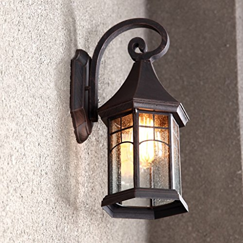 CJH Vintage Outdoor Wall Light Waterproof Outdoor Lighting Aisle Door Garden Light American Balcony Stairs Exterior Wall Terrace Lamp (Color : Anti-Patina)