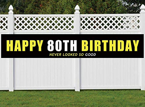 Nimab 80th Birthday Banner, Large Happy 80th Birthday Sign, 80 Bday Party Decoration Supplies