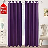 HOMEIDEAS Blackout Curtains Room Darkening Thermal Insulated Grommet Drapes  For Bedroom (52 X 84 Inches