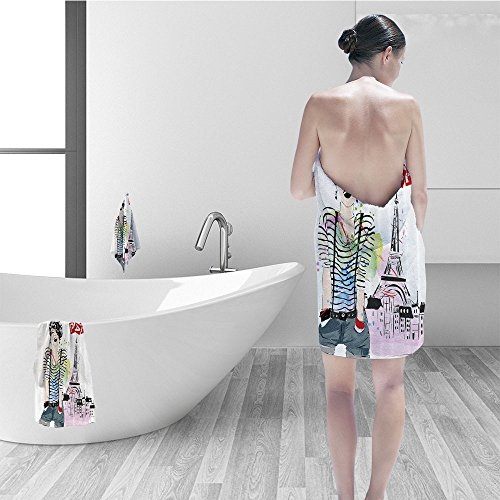 Nalahomeqq Hand towel set Fashion House Decor Sketch of Fancy Laughing Girl in front of Eiffel Tower Happiness Stain Fabric Bathroom Decor Black White