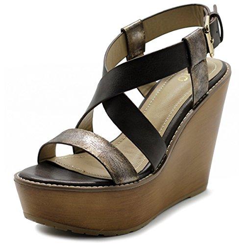 Ollio Womens Shoe Vintage Burnish Wedge Cross Strap Sandal FT03(8.5 B(M) US, Coffee) (Wood Sandal Wedge)