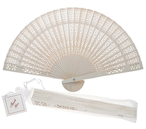 Quasimoon PaperLanternStore.com 8 Inch White Chinese Folding Wood Panel Hand Fan w/White Organza Bag for Weddings