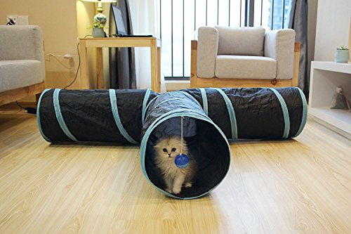 Image of Cat Tunnel Toys 3 Way Collapsible Pet Play Tube with Crinkle for Indoor Cats Kittens - Large