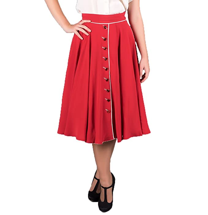 Retro Skirts: Vintage, Pencil, Circle, & Plus Sizes 1940s Authentic Vintage Inspired Rita Skirt in Red by The Seamstress of Bloomsbury £49.00 AT vintagedancer.com