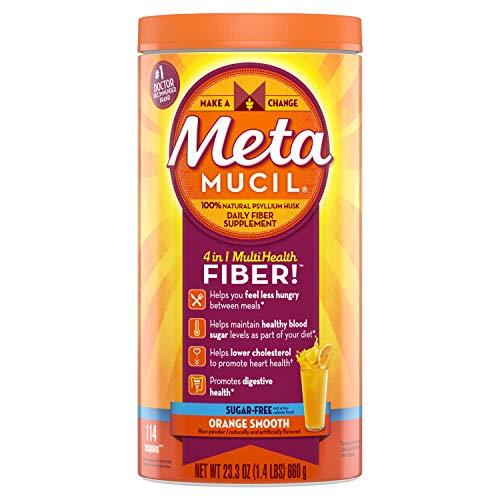 - Metamucil Fiber, 4-in-1 Psyllium Fiber Supplement, Sugar-Free Powder, Orange Smooth Flavored Drink, 72 Servings (Packaging May Vary)