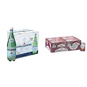 S.Pellegrino Sparkling Natural Mineral Water, 33.8 fl oz. (12 Pack) & Pomegranate and Orange Italian Sparkling Drinks, 11.15 fl oz. Cans (24 Count)
