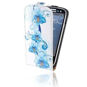 tinxi® PU piel Funda de cuero para Samsung Galaxy S3 I9300 y Samsung Galaxy S3 Neo i9301 la cubierta protectora con la función del soporte con el blanco fondo y flores azules
