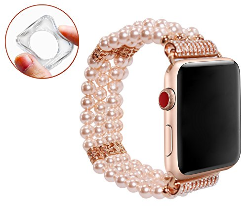 for Apple Watch Band 38mm Series 3 for Women Greatshow Cute Elastic Beaded Pearl Iwatch Strap Bracelet with Apple Watch Protective Case-Pink