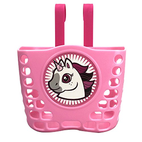 Lzttyee Children's Bicycle Basket Cute Cartoon Hollow Out Bike Basket with Removable Hooks for Kids (Pink)