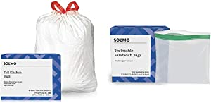 Amazon Brand - Solimo Super Flex Tall Kitchen Trash Bags, Clean Fresh Scent, 13 Gallon, 68 Count & Solimo Sandwich Storage Bags, 300 Count