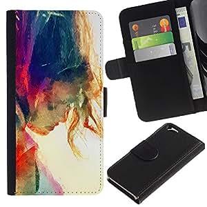 APlus Cases // Apple Iphone 6 4.7 // Acuarela Sol arco iris Verano Chica // Cuero PU Delgado caso Billetera cubierta Shell Armor Funda Case Cover Wallet Credit Card