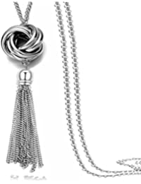 Long Tassel Necklace Silver Tone Lovely Knot Tassel...