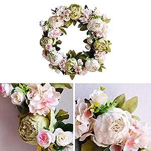 Luckycyc Peony Artifical Garland Door Hanging Decoration Wedding Flower Photography Wedding Flower Wreath Living Room Floral Decoration 5