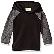 Crazy 8 Baby Boys Long Sleeve Fleece Raglan Hoodie, Black, 6-12 Mo