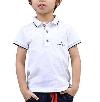 ZLChen - Polo - para niño blanco blanco 4-5 Años: Amazon.es: Ropa ...