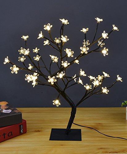 Lightshare 18 Inch Cherry Blossom Bonsai Tree, 48 LED Lights, Warm White Lights, Ideal as Night Lights, Home Gift Idea