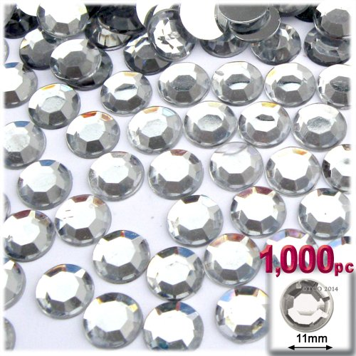 The Crafts Outlet 1000-Piece Loose Flatback Acrylic Round Rhinestones, 11mm, Crystal Clear ()