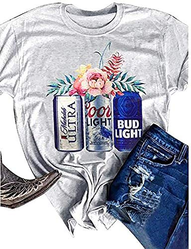 Womens Coors Light Bud Light Letter Print T Shirt Casual Short Sleeve Top Blouse Grey, X-Large