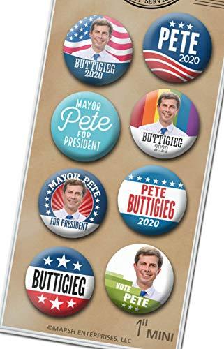 (Marsh Enterprises 8-PACK MINI Buttons - Pete Buttigieg 2020 for President - Classic Photo Mayor Assorted Lapel Pin 8PK Design #6073)