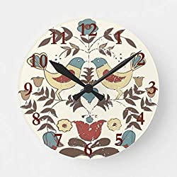 Vintage Amish Birds Country Cottage Farmhouse Design Wooden Clock for Walls Home Decor Battery Operated Wall Clock 12 inches