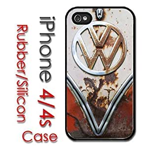 iPhone 4 4S Rubber Silicone Case - VW Bus Rust front end Volkswagen Surf
