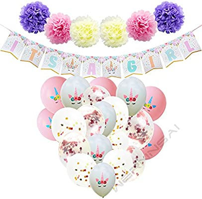 WERNNSAI Baby Shower Decoraciones para Niña Suministros de Fiesta Unicornio Bandera ITS A Girl Pancartas Banner Flores de Papel Pompones Globos de ...