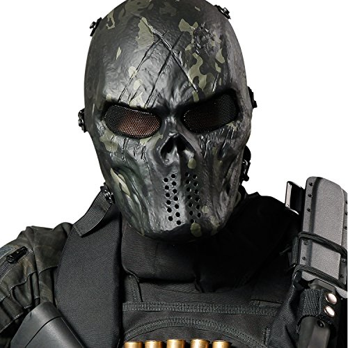 JIUSY Tactical Gear Full Face Airsoft Mask with Metal Mesh Eye Protection Halloween Ghost Skull Black Camouflage (Paintball Costumes Halloween)
