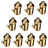 10pcs Vintage Lamp Holder, Motent Industrial Retro US Standard Solid Brass Knob Socket in Copper Plated Finish, Antique Metal DIY E26 Edison Medium Base Light Fixture Replacement for Wall/Drop Lamp
