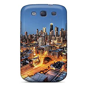 FMNgusm7821IGXcR Case Cover Protector For Galaxy S3 Fantastic Chicago Cityscape At Night Hdr Case