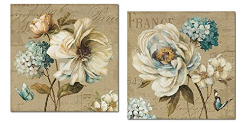 Gango Home Décor Beautiful Teal, Tan and Brown Floral and Butterfly Print Set by Lisa Audit; Two 12x12in Poster - Print Tan Floral