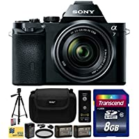 Sony a7K A7 Full-Frame DSLR 24.3 MP Interchangeable Digital Lens Camera FE 28-70mm f/3.5-5.6 OSS Lens with Beginner Accessories Bundle Kit includes 8GB Class 10 SDHC Memory Card + x2 Replacement (1200mAh) NP-FW50 Battery + Home Wall Charger with Car and European Adapter + Professional 60 Inch Photo/Video Tripod + Ultra Violet UV High Definition Filter + Hard Shell Carrying Case + Wireless Shutter Release Remote + Camera Lens Cleaning Kit + Bonus for Digital Prints