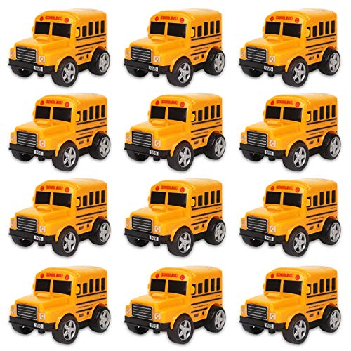 - 12 Pack in Box Chubby School Bus Model Toys - 4 inches Classic Long Nose Friction Powered 360 Rotation Vehicles - Ideal Gift, Party Favors for Kids (1 Dozen)