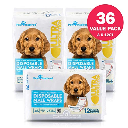Paw Inspired 36ct Disposable Male Dog Wraps, Belly Band for Dogs   Disposable Dog Diapers   Belly Bands for Male Dogs