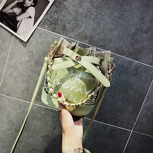 Diagonale Sac été Paquet coréenne épaule de Version épaule féminine marée WSLMHH Vert fée Seau de Sac la Transparent Petit Main Sauvage zdxTUTwq