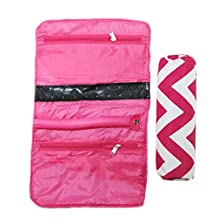 Jewelry Organizer Roll Up Bag Hot Pink
