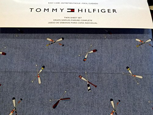 Tommy Hilfiger 3 Piece Twin Size Easy Care Sheet Set Rowing Boat Paddles Oars on Blue ()