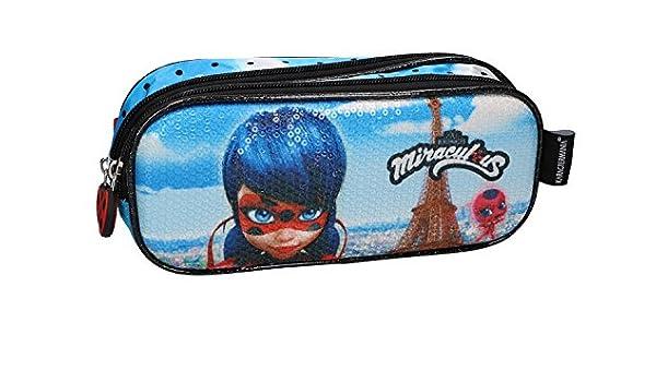 Miraculous Lápiz caso de la escuela azul doble apertura zip fantasía 3D VZ598: Amazon.es: Ropa y accesorios