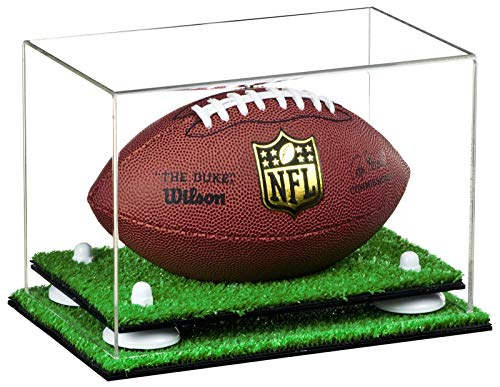 Deluxe Clear Acrylic Mini - Miniature (not Full Size) Football Display Case with White Risers and Turf Base (A005-WR)